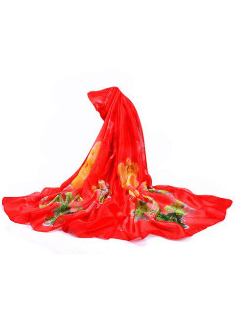 Vintage Flowers Pattern Decorative Spring Fall Scarf - LOVE RED