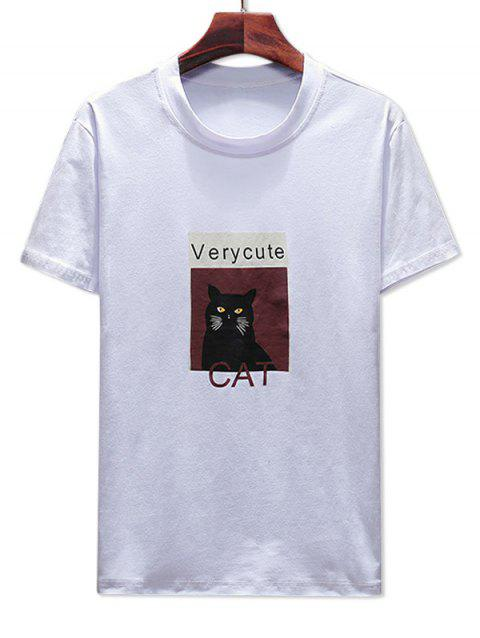 340a6d902 LIMITED OFFER] 2019 Cat Letter Print Tee Shirt In WHITE L ...