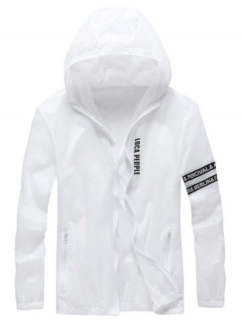Zip Up Letter Print Hooded Sunscreen Jacket - WHITE 2XL