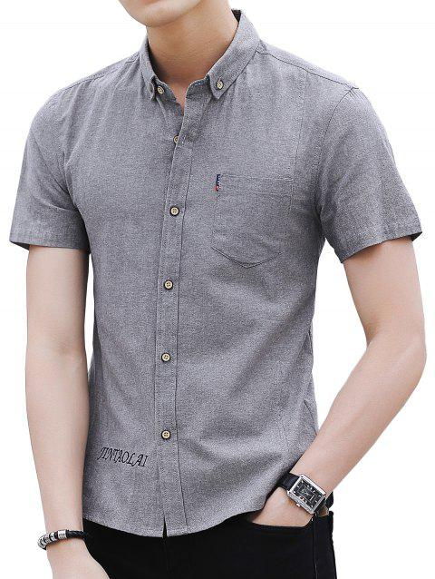 Embroidery Letter Chest Pocket Casual Shirt - LIGHT GRAY M