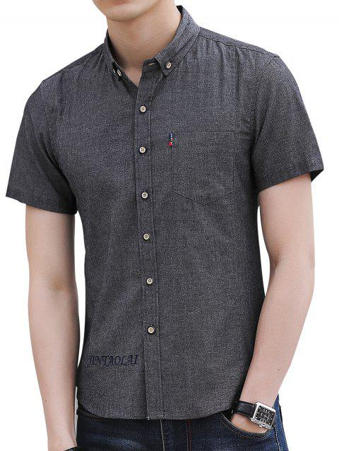 Embroidery Letter Chest Pocket Casual Shirt - DARK GRAY L