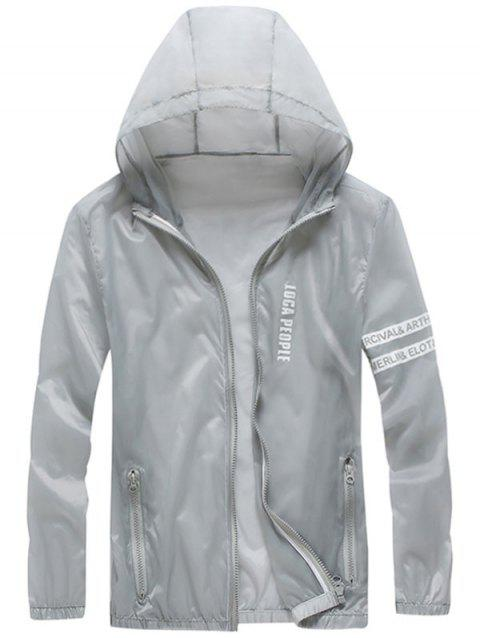 Zip Up Letter Print Hooded Sunscreen Jacket - GRAY 2XL