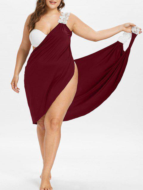 Plus Size Beach Cover-up Wrap Dress - RED WINE L