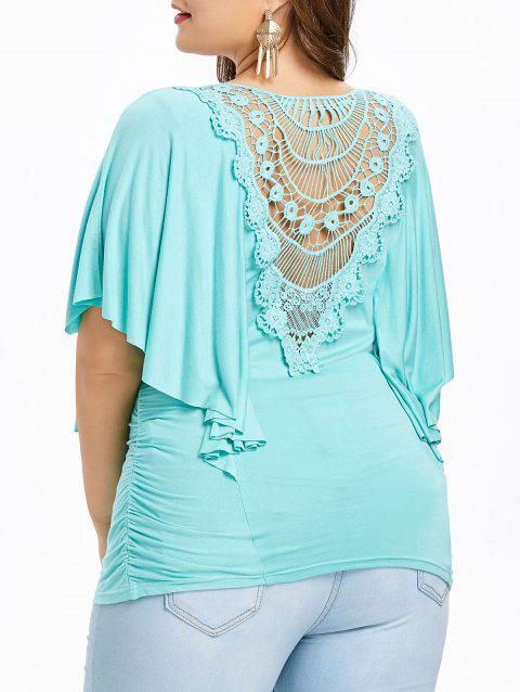 Plus Size Fluttering Sleeve Sweetheart Neck T-shirt - LIGHT AQUAMARINE 5X