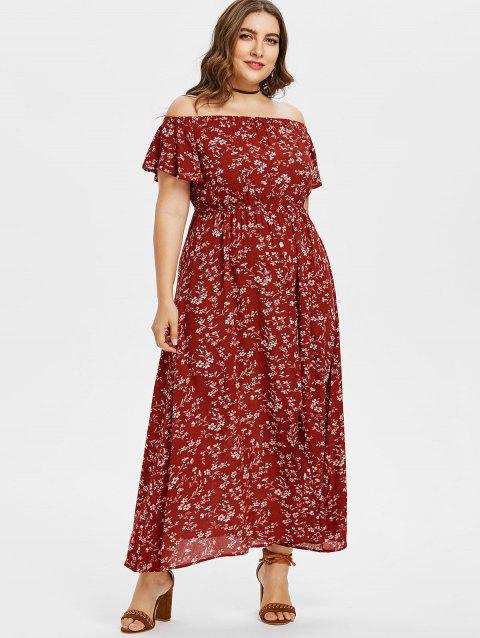 79d7bb923ad CUSTOM  2019 Plus Size Floral Off Shoulder Swing Dress In RED WINE ...