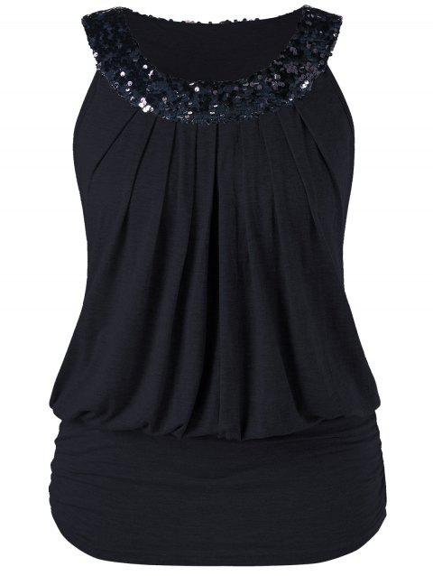 Plus Size Sleeveless Sequined Sparkly Blouson T-shirt - BLACK 3XL