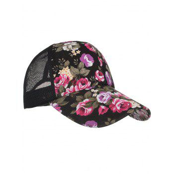 Flourishing Floral Decorative Hip Hop Hat - BLACK