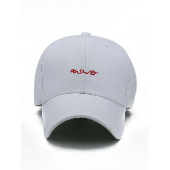 Outdoor Letter Embroidery Adjustable Sport Hat - WHITE
