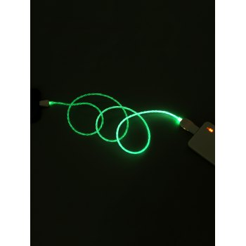 Flowing LED Glowing USB Charging Data Cable For iPhone - ZOMBIE GREEN