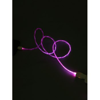 Flowing LED Glowing USB Charging Data Cable For iPhone - VIOLET RED