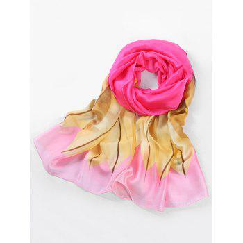 Fresh Leaves Printed Silky Shawl Scarf - ROSE RED