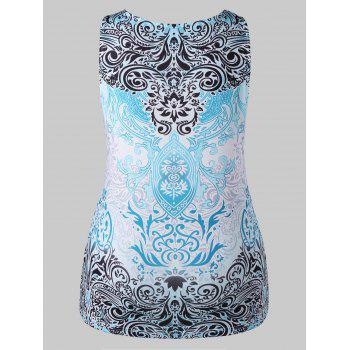 Plus Size Baroque Print Scoop Neck Tank Top - LIGHT BLUE 5X