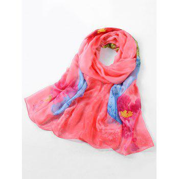 Lightweight Rose Printed Spring Fall Scarf - LOVE RED