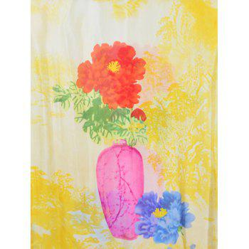Lightweight Rose Printed Spring Fall Scarf - YELLOW