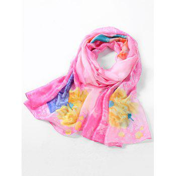 Lightweight Rose Printed Spring Fall Scarf - PINK DAISY