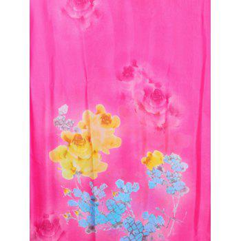 Vintage Flowers Pattern Decorative Spring Fall Scarf - ROSE RED