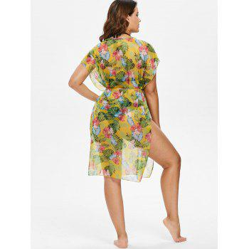 Flower Palm Cover Up - YELLOW ONE SIZE