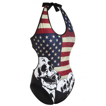 One Piece American Flag Skull Backless Swimwear - multicolor S