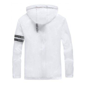 Zip Up Letter Print Hooded Sunscreen Jacket - WHITE M