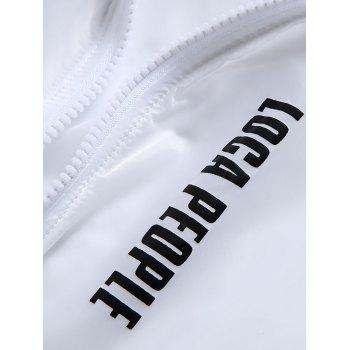 Zip Up Letter Print Hooded Sunscreen Jacket - WHITE L