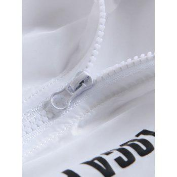 Zip Up Letter Print Hooded Sunscreen Jacket - WHITE XL