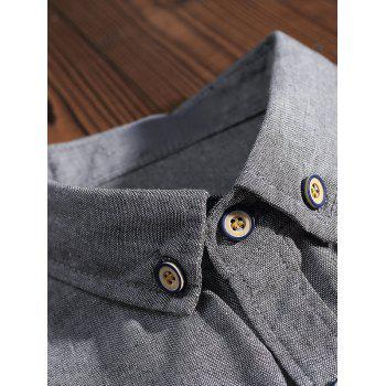 Embroidery Letter Chest Pocket Casual Shirt - LIGHT GRAY L