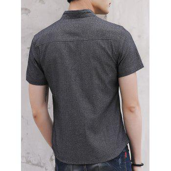 Embroidery Letter Chest Pocket Casual Shirt - DARK GRAY M
