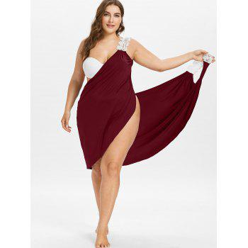 Plus Size Beach Cover-up Wrap Dress - RED WINE 2X