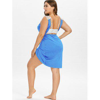Plus Size Beach Cover-up Wrap Dress - SKY BLUE 5X