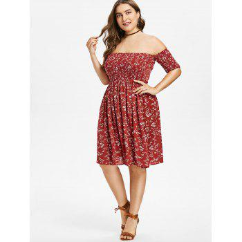 Off Shoulder Plus Size Floral Dress - RED WINE 1X