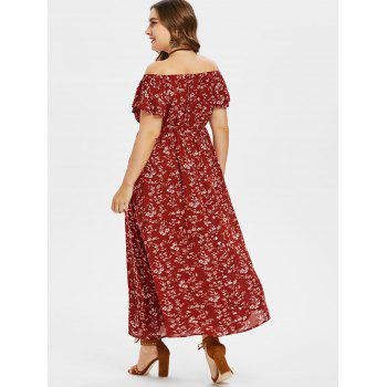 Plus Size Floral Off Shoulder Swing Dress - RED WINE 4X