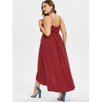 Plus Size Maxi High Low Polka Dot Dress - RED WINE L