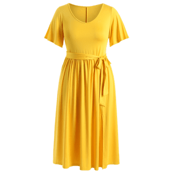 Plus Size Plain Belted Dress - YELLOW 3X