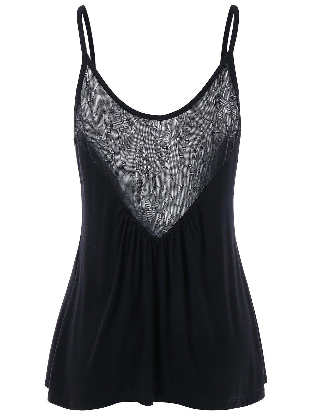 Lace Panel Swing Camisole dual straps lace camisole