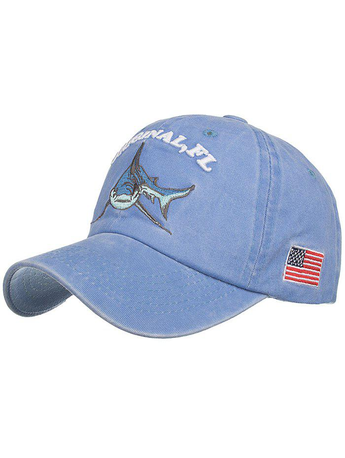 Shark Embroidery Adjustable Graphic Hat - CORNFLOWER BLUE