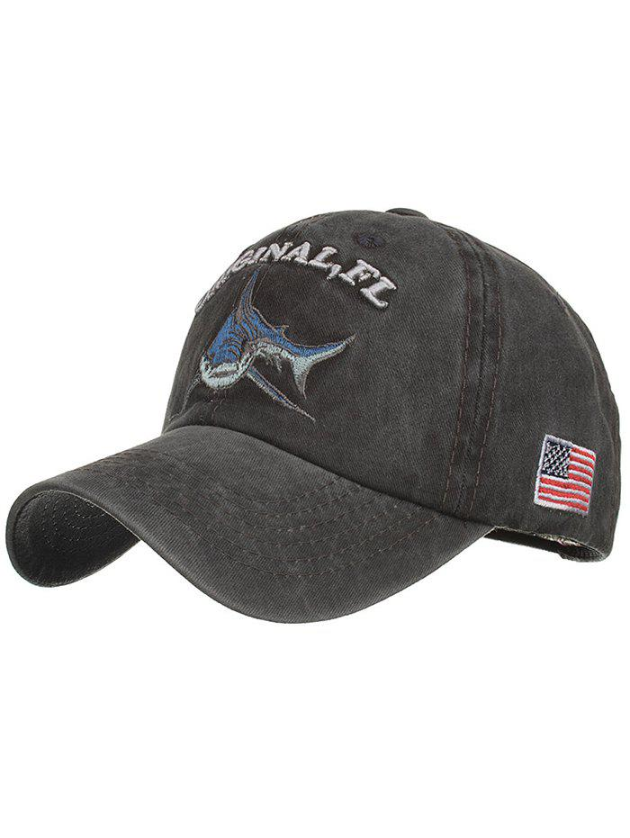 Shark Embroidery Adjustable Graphic Hat - BLACK