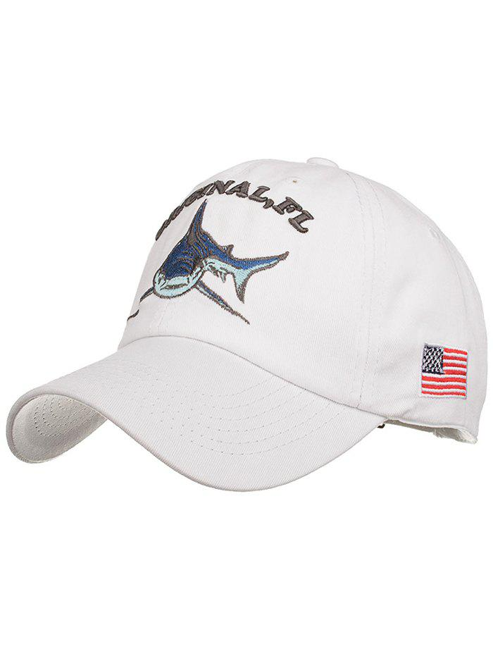 Shark Embroidery Adjustable Graphic Hat - WHITE