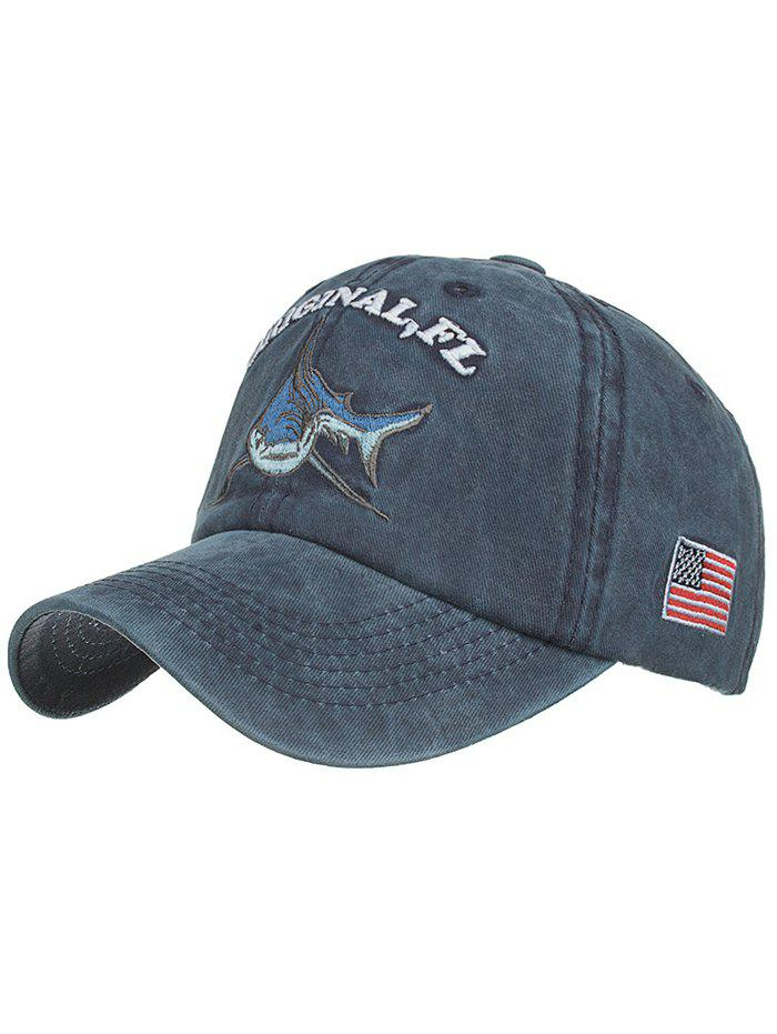 Shark Embroidery Adjustable Graphic Hat - CADETBLUE