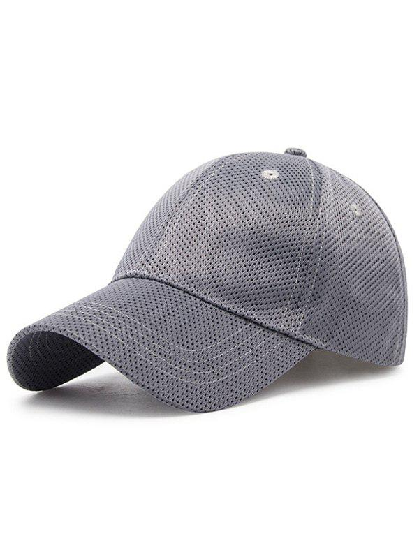 Solid Color Breathable Mesh Snapback Hat - GRAY