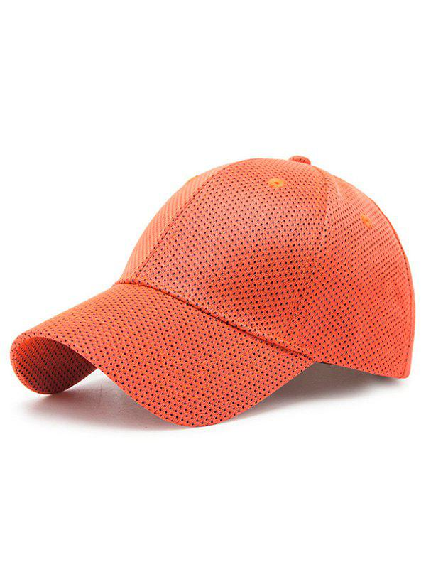 Solid Color Breathable Mesh Snapback Hat - TANGERINE