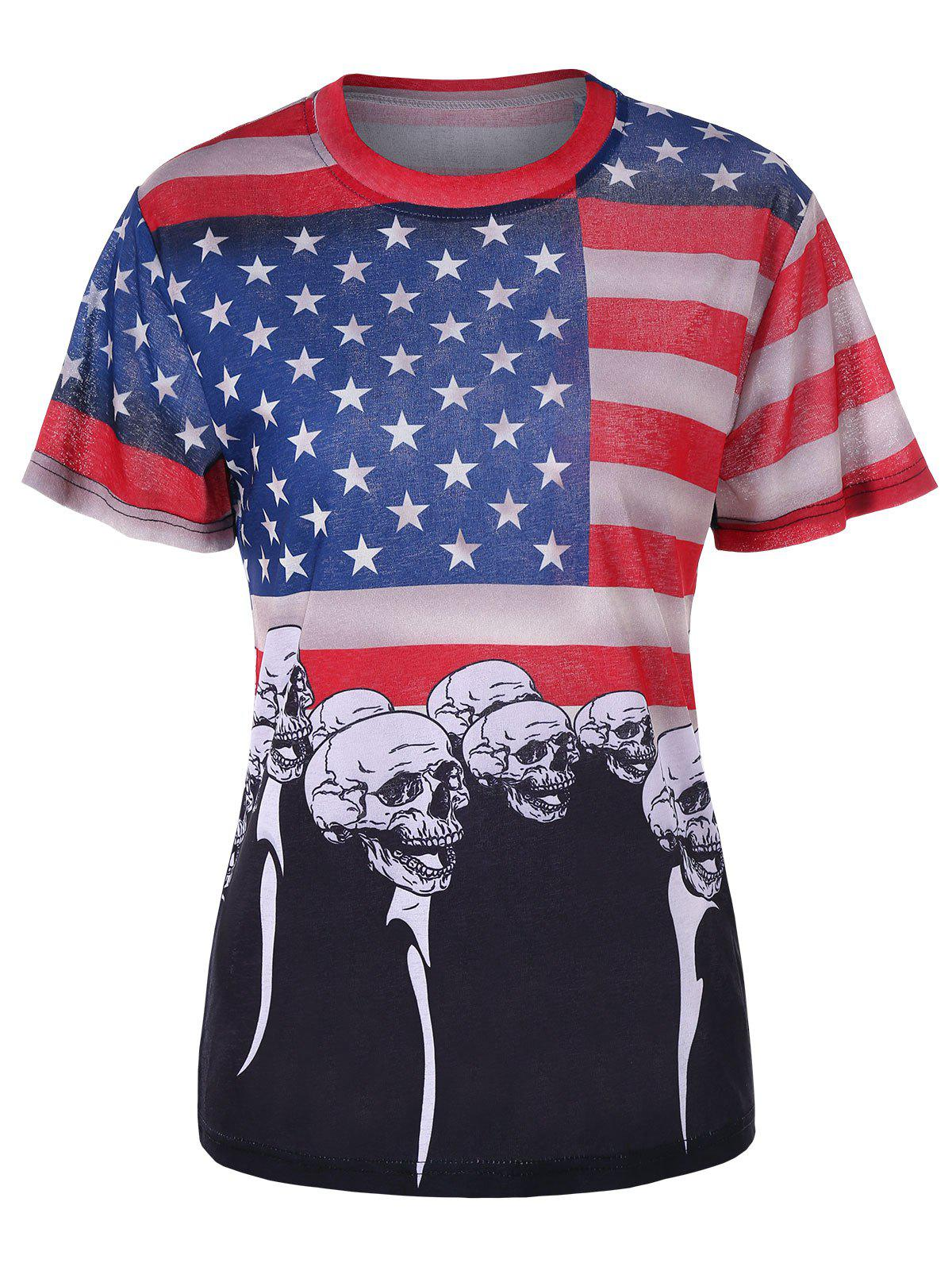 Patriotic American Flag Skull Printed T-shirt - BLACK M