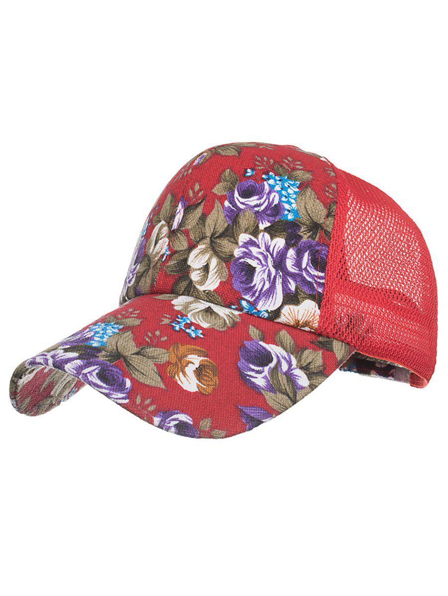 Flourishing Floral Decorative Hip Hop Hat - RED
