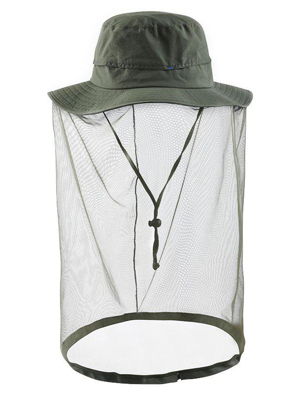 UV Protection Solid Color Mesh Bucket Sun Hat - ARMY GREEN