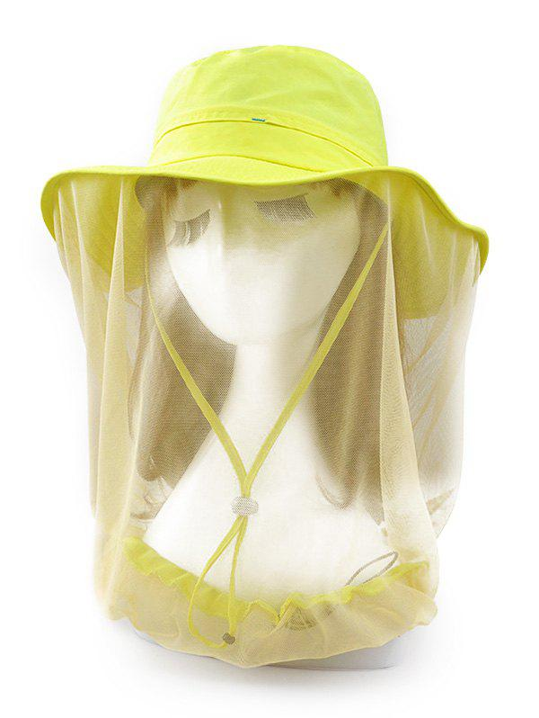 UV Protection Solid Color Mesh Bucket Sun Hat - YELLOW