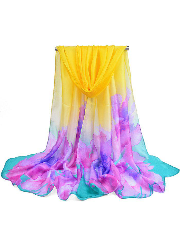 Vintage Colored Floral Printed Long Scarf - YELLOW