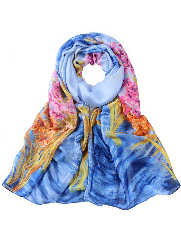 Flourishing Flower Pattern Oblong Scarf - OCEAN BLUE