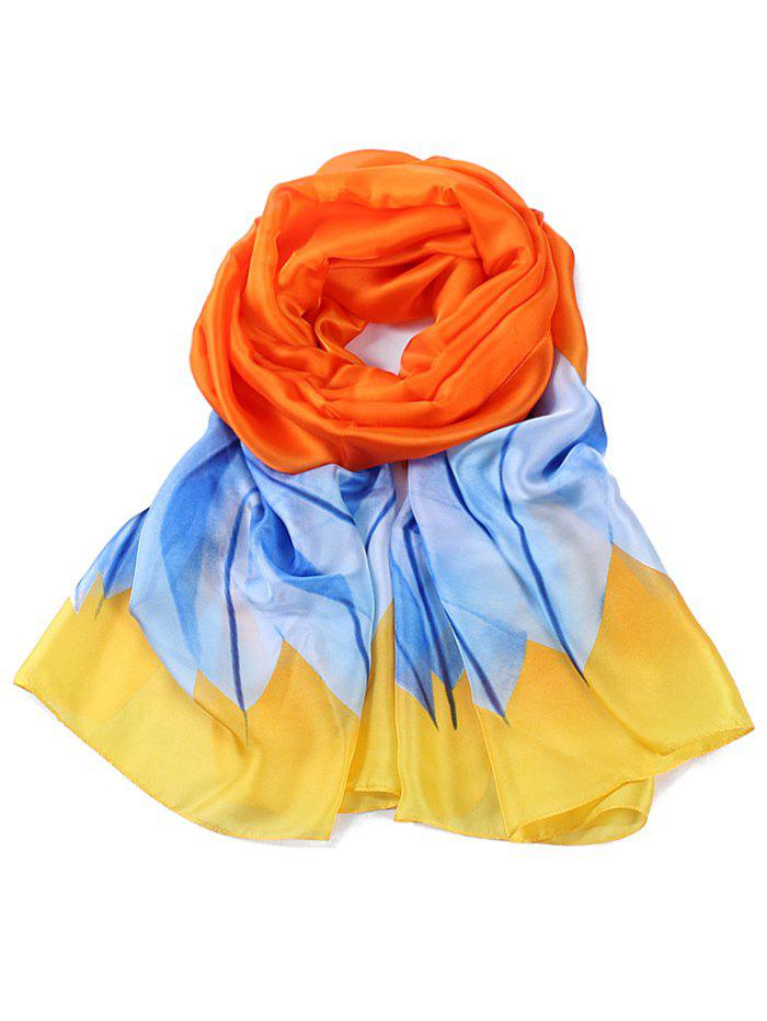 Fresh Leaves Printed Silky Shawl Scarf - PUMPKIN ORANGE
