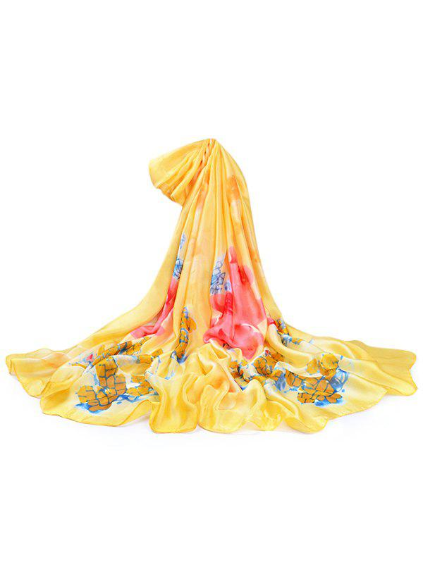 Vintage Flowers Pattern Decorative Spring Fall Scarf - YELLOW