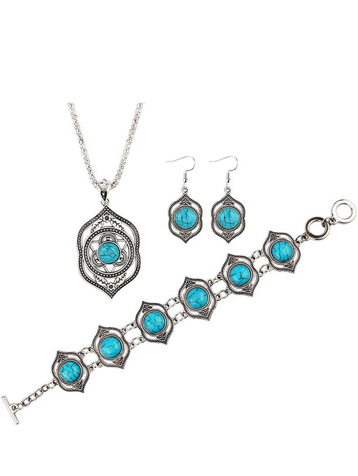 Hollow Out Faux Turquoise Carved Party Jewelry Set faux turquoise cow engraved jewelry set