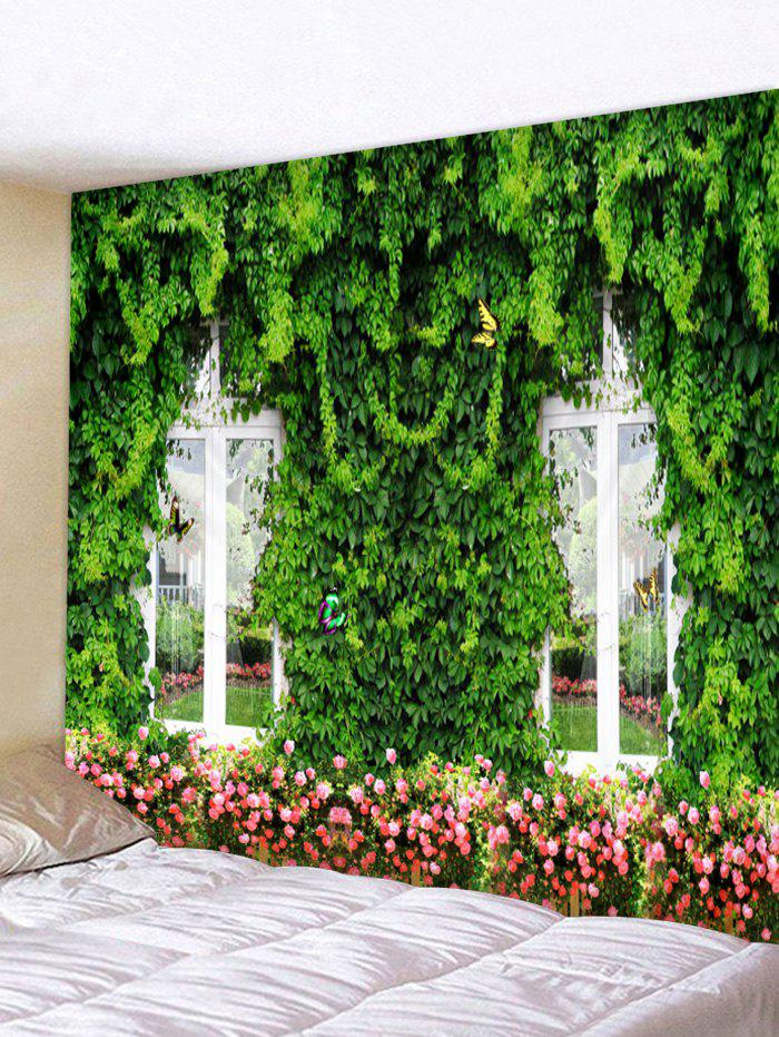 Flower Forest Window Print Tapestry Wall Art Hanging Decoration valentine s day heart starlight print tapestry wall hanging decoration